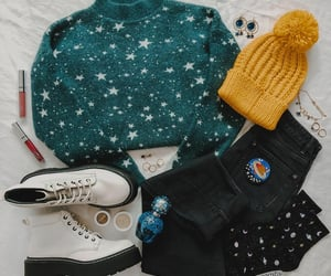 beanie, jeans, and yellow beanie image