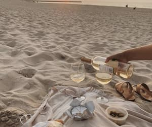 beach, wine, and sunset image