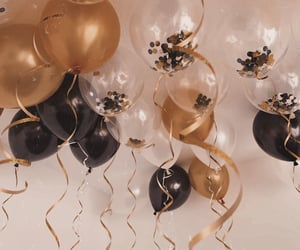 birthday, ballon, and black image