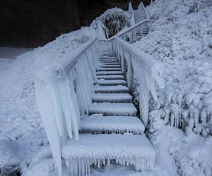 frozen, snow, and stairway image