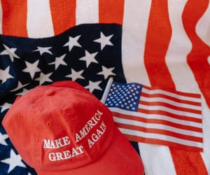 american flag, trump, and donald trump image