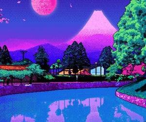 cat, pixel, and purple image