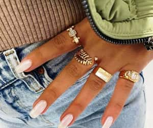 nude nail, ring sets, and nail art image