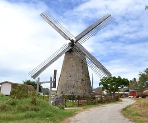 architecture, windmill, and barbados image