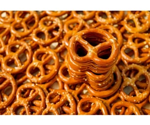 food, pretzels, and brown image