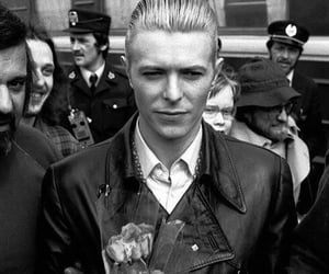 black and white, david bowie, and flowers image