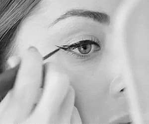 eyeliner, black and white, and makeup image
