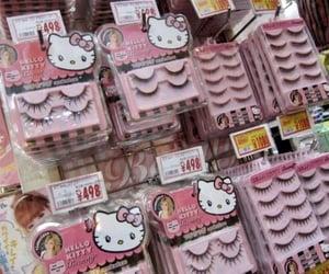 hello kitty, eyelashes, and pink image