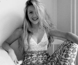 black and white, smile, and girl image