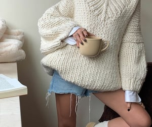 blogger, coffee, and knitwear image
