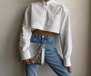 blogger, frame, and blue denim jeans image