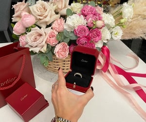 beautiful, bouquet, and cartier image