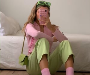 pink, green, and girl image