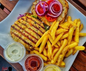 condiments, sandwich, and fish image