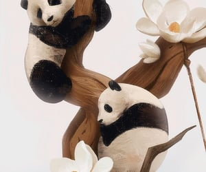 brown, flowers, and pandas image