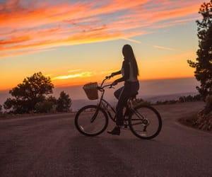 bike and sunset image