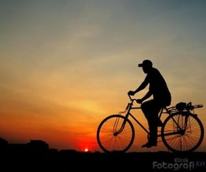 bike, sunset, and silhouette image