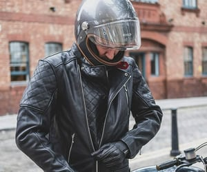 leather motorcycle jacket, retro-inspired, and goldtop england bobber image