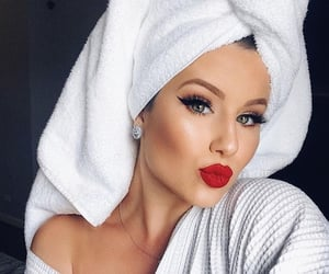 beauty, makeup, and red lipstick image