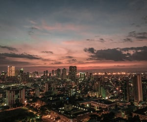 buildings, lights, and manila image