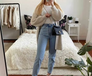 cardigan and mom jeans image