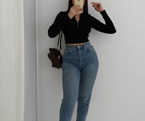top, blouse, and mom jeans image