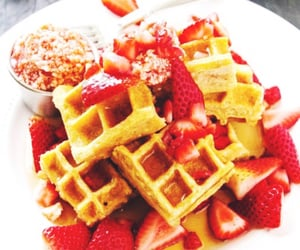breakfast, sweet, and waffles image