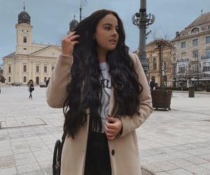 beautiful, dark hair, and model image