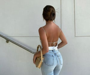 backless, blue jeans, and fashion image