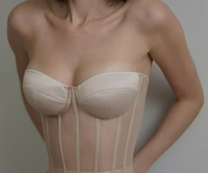 beige, bustier, and woman image