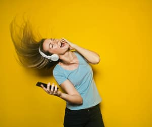 girl, phone, and headphones image