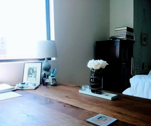 books, desk, and lamp image