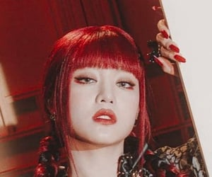 eye makeup, red eyes, and g-idle image