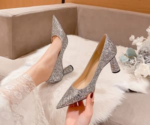 leather, sequins, and stiletto heels image