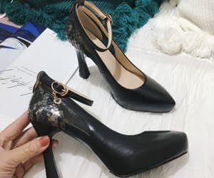 fashion, stiletto heels, and leather image