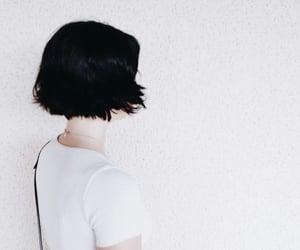 black hair, short hair, and t-shirt image