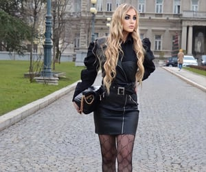 blonde, fashion, and black outfit image