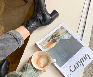 coffee, fashion, and boots image