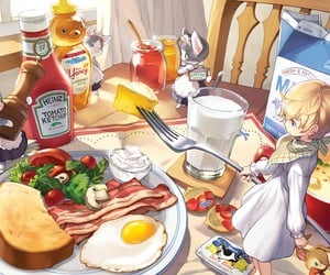 anime, bacon, and breakfast image