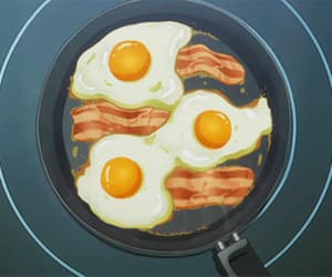 anime, bacon, and food image