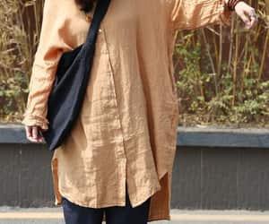 long shirt, orange shirt, and oversize shirt image