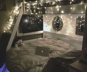 bed, fairy lights, and lights image