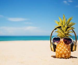 beach, headphones, and music image