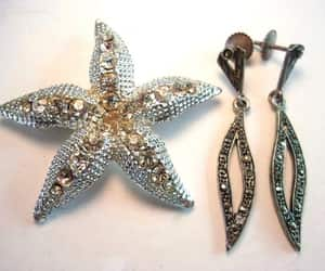 Dangle, clear rhinestones, and etsy image