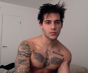 bed, black hair, and Tattoos image