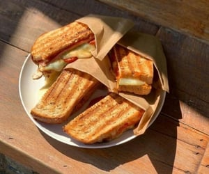 breakfast, cheese, and sandwiches image