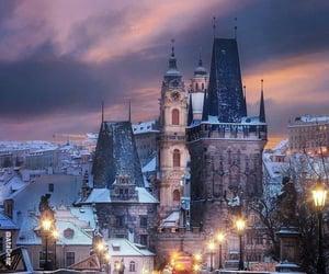 czech republic and snowy prague image