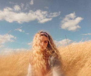 blonde, countryside, and curly hair image