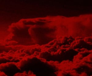 red, aesthetic, and clouds image