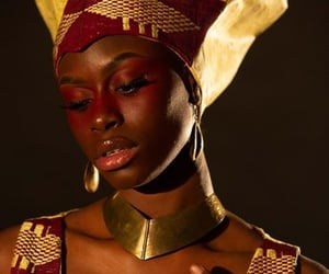 black girl, art, and gold image